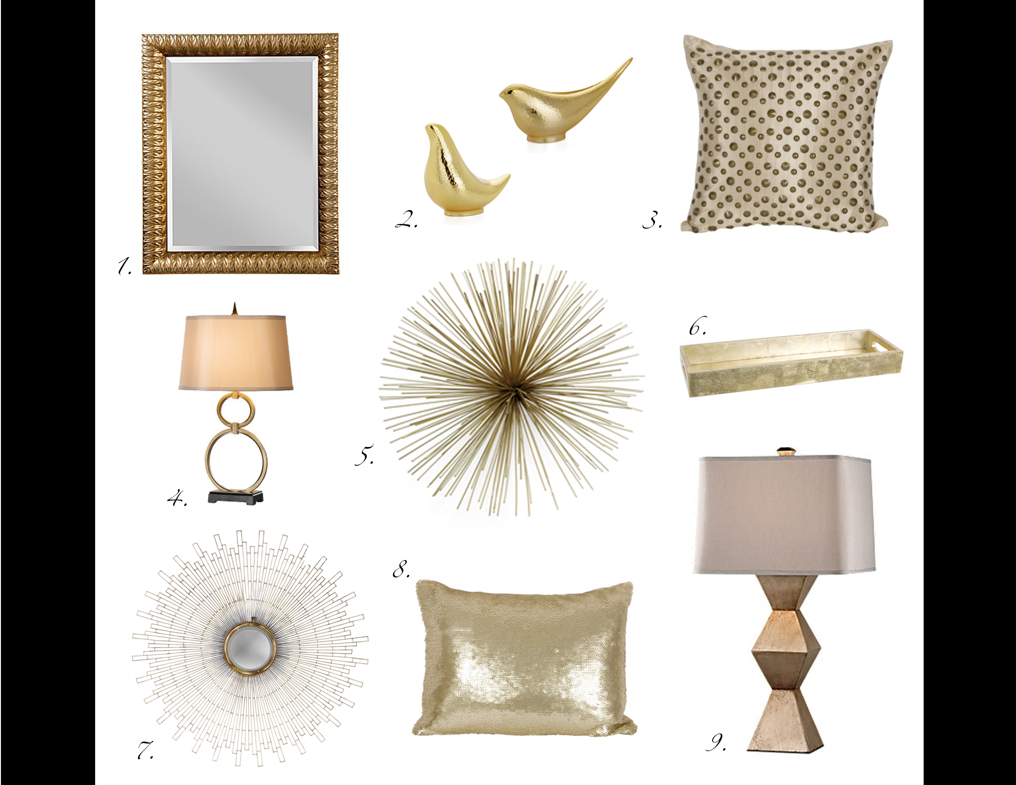 home trend gold brass accents