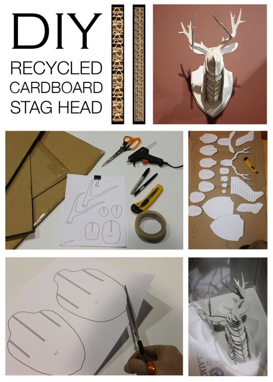 Recycled Cardboard Stag Head Mountain Home Decor