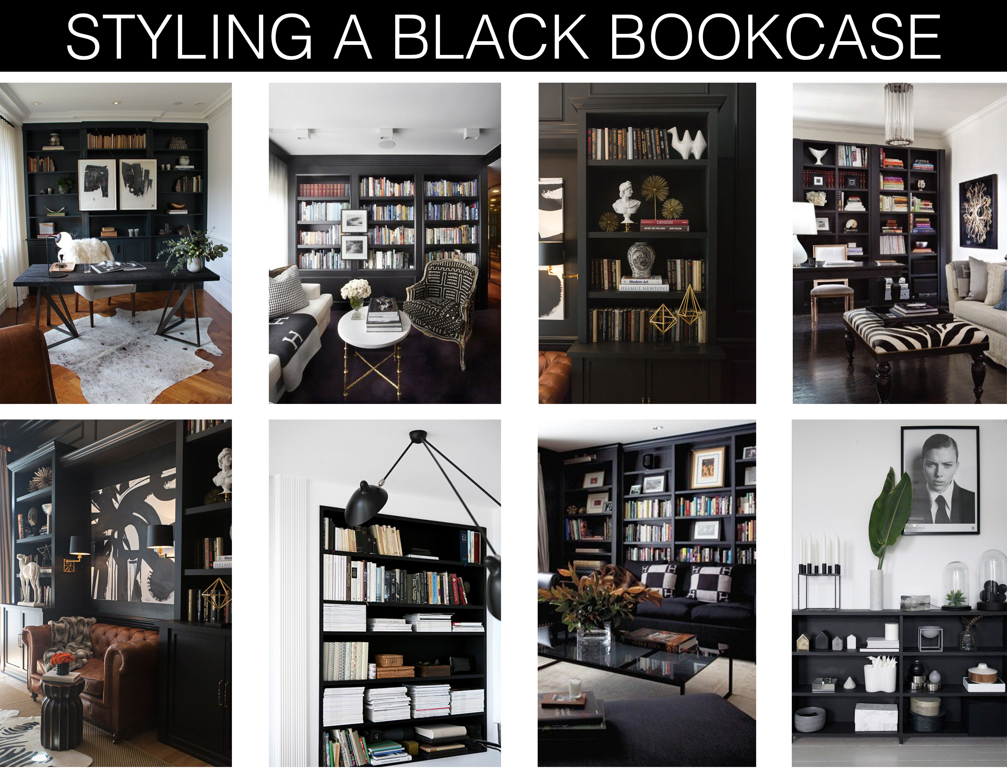 Home trend styling a black bookcase mountain home decor for Mountain home design trends
